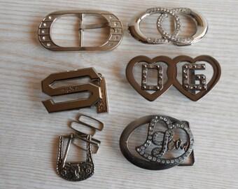 Vintage Belt Buckles Lot of 6 Metal Belt Buckles