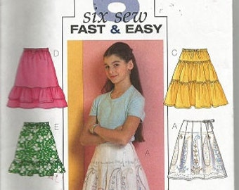 Butterick Uncut Pattern - B4722 - SIX SEW - Fast & EASY - Size Ch (7-8-10) - Girl's Skirt