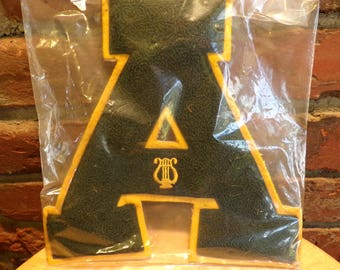 Vintage Varsity Letter A Baseball Sports Athlete, Green and Yellow letter A, A patch, patch letter, Vintage letterman's letter, 1950's prop