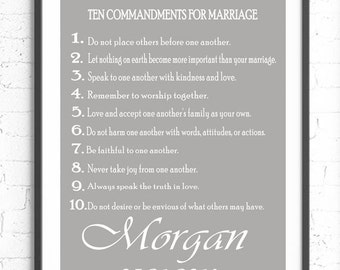 Custom Wedding Gift, Ten Commandments Of Marriage, Wall Art Print, Personalized Wall Art, Unique Wedding Present, Wedding Gift, Engagement