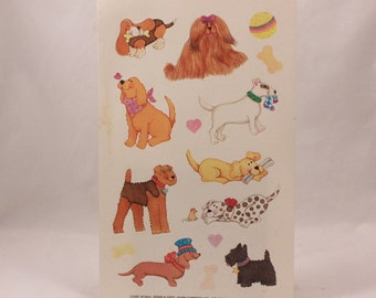 """Vintage Current Dogs and Puppies Sticker Sheet. 9"""" by 5 3/4"""" Sheet"""