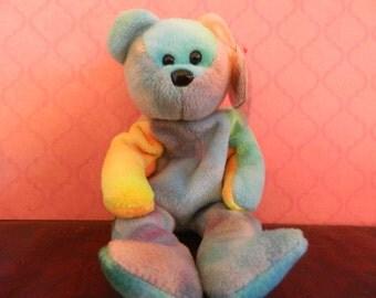 "TY Multi Colored Bear Beanie Baby ""Garcia"" (B)"