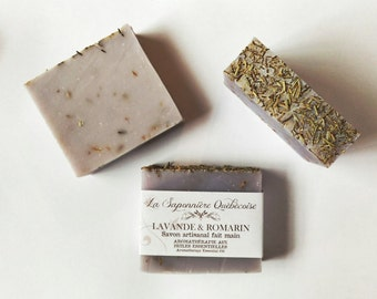 Savon Lavande & Romarin, Savon artisanal fait main 100% naturel, Rosemary Lavender Soap, Cold process All Natural Handmade Soap