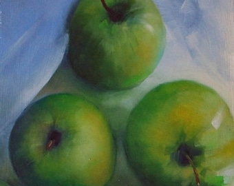 Original small oil painting of green apples on wood