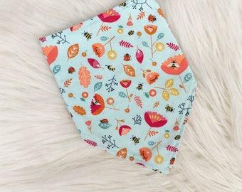 Baby Dribble Bib, Toddler Bib, Nature, Bees, Ladybirds, Baby Gift,  Baby Shower, New Baby, Christmas Stocking Filler, Handmade in the UK