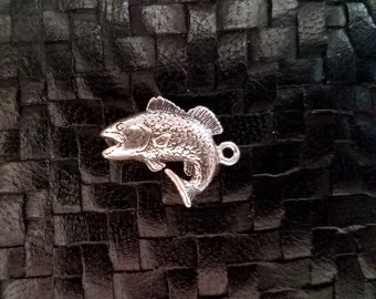 Sterling Silver Bass Trout Fish Charm Pendant, 925 Detailed 3D Design- Smaller size- Fisherman Salmon Water Animals