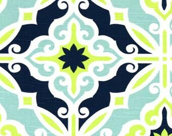 Navy/ Yellow Green/ Aqua Pillow Cover, Decorative Pillow Cover,  Navy and Aqua Throw Pillow Cover, Navy Pillow