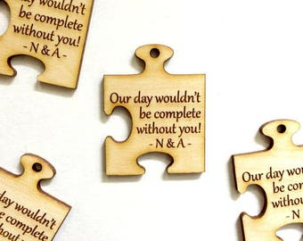 Wedding puzzle piece favor tags - jigsaw wedding tags (set of 15)