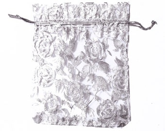 White Drawstring Bags with Flowers - 15 Organza Bags - 12x10cm Drawstring Bags for Jewelry - Party Favor Bags - Decorative Bags - BG418