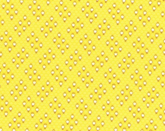 Retro 30's Child Smile Small Geo Flowers fabric in Yellow from Lecien #31441-50 Fall 2016