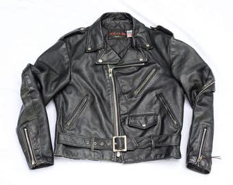 Vintage Schott Leather Jacket - Schott NYC Dur O Jac Black Motorcycle Jacket - Heavy and Quality Coat Made in USA - Durojac
