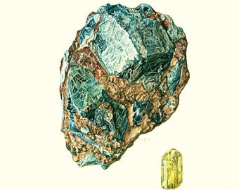 1970 Blue Apatite Semiprecious Gemstones Print.  Minerals Wall Art. Vintage geology Illustration. SCI ART Print.