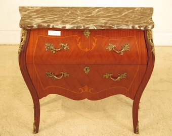 41645E: Marquetry Inlaid Bombe' Base Marble Top Commode Chest
