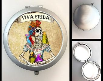 Compact Mirror Day of the Dead Skeleton Frida