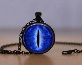 Dragon Eye Pendant Necklace Blue Steampunk Creature Eye Mens Womens