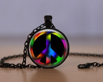 Peace Sign Pendant Necklace Charm Hippie Peace And Love Mens Womens