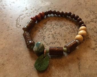 Wood and stone stretch bracelet