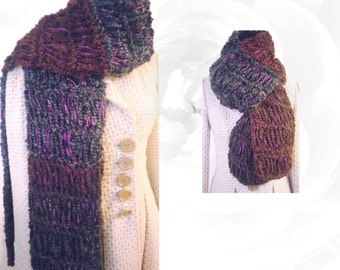 Brown Scarf, Gray Scarf, Purple Scarf, Teal Scarf, Striped Scarf, Colorful Scarf, Winter Scarf, Warm Scarf, Knitted Scarf, Soft Scarf, OOAK