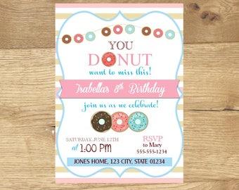 Donut Invitation, Donut Birthday Party, Donut Birthday Invite, Printable Donuts Invitation, Cute Donut Invitation, Girl's Donut Birthday