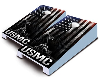 "US Marine Corp ""USMC Hanging Stripes"" Tabletop Cornhole Board Set."