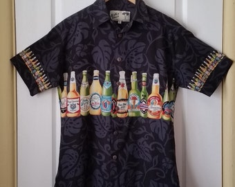 Beer Bottle Hawaiian Shirt MEN'S SMALL Koko Island Short Sleeve Cotton Aloha Shirt Black With Beer Bottles Motif Hawaiian Island Beers