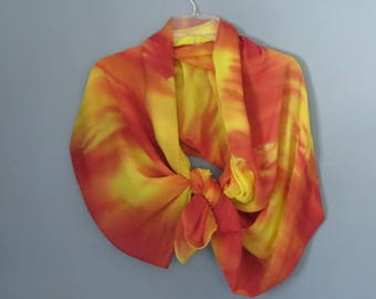 Silk shawl, silk wrap skirt, beach coverup, pareo, chiffon sarong, hand dyed silk