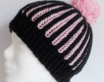 beanie, hat, wooly hat, with pompon, black and rose, knitted