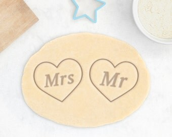 Wedding Heart Cookie Cutter - Personalized Heart Cookie Cutter Engagement Wedding Cookie Cutter Valentines Day Cookie Cutter - 3D Printed