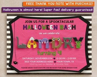 Halloween Birthday party invitation kids, kids halloween birthday party invitation, Pink Halloween