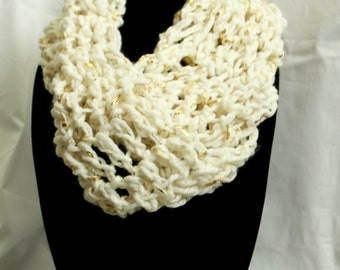 White and Gold-leaf Crocheted Infinity Scarf