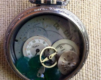 Pocket Watch Neclace Locket Filled With Jade And Watch Faces Dials