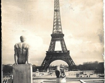 Eiffel Tower from Chaillot Palace, Paris, France, Vintage 1958 Used Real Photo Postcard by Edition Estel