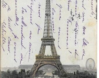 La Tour Eiffel, Paris,  France, Antique 1906 Postally Used Postcard by C. Malcuit