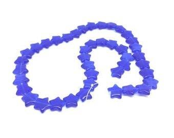 40 stars color blue cat's eye beads