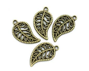 50 charms leaves Bronze 19x11mm