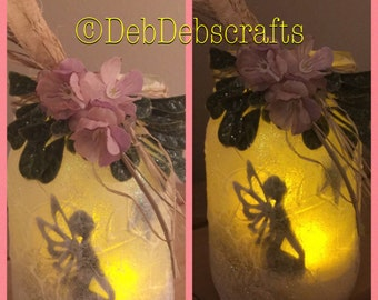 Glitter Fairy jar lantern Fairy in a jar Fairy decorations night light Fairy Gifts for girls Mason jar decor