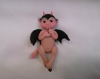 """Polymer Clay Babies """"Gothic Bat Baby"""" BABY SIZE 3.0"""" Collectible, Gift, Gothic Decor, Display, Keepsake"""