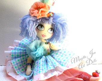 Clown circus doll, ZITA FABTASTIC Carnival doll OOAK Coquette, Art Doll, handmade doll, original fantasy doll, keepsake doll, collectible