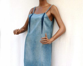 Blue Denim Girl - Knee lenght dress in recycled jean, denim strappy dress, recycling of second hand clothes, upcycling, eco-mode,