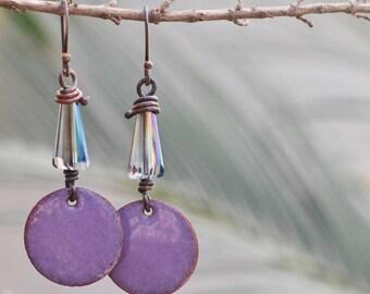 Enamel earrings, Enameled earrings, Purple earrings, Copper enamel jewelry, Silver ear wires, Crystal earrings, Handmade gift, Gift for her
