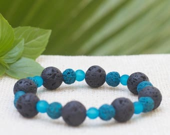 Mens beaded bracelet, Blue mens bracelet, Stacking bracelet, Lava rock stone bracelet, Yoga bracelet, Man boyfriend husband son gift Stretch