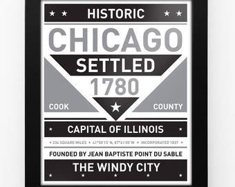 Chicago, Illinois Framed Black & White City Sign Print