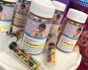 Doc McStuffins Inspired Personalized Pill Bottle (Empty) - Set of 10