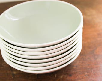 Harkerware Restaurant Ware Dinner Bowls, Green Patterned, Oven-Proof Since 1840, Dish Washer Proof U.S.A.