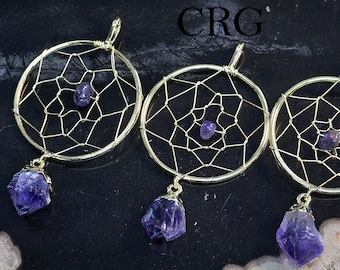Gold Plated Dream Catcher Pendant with Amethyst Point (DC7BT)