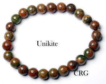 SELECT Round 6-7mm UNAKITE Beads Stretch Bracelet (BR40DG)