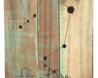 Libra Zodiac Wood Sign - Reclaimed Wood Sign - Constellation Sign