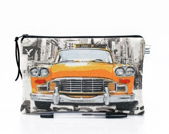 New York pencil case, Yellow cab zipper pouch, MakeUp bag, Gadget pouch, Back to school, Boys gift, School supplies, Car bag, Teacher gift