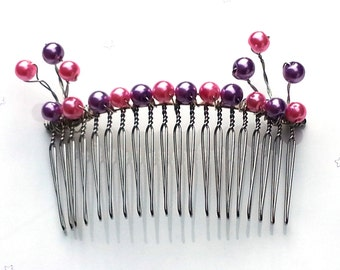 Sale - pink and purple hair comb - pink hair comb - purple hair comb - wedding hair comb - bridesmaid hair comb- wedding accessory