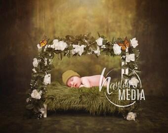 Newborn Baby Toddler Child Flower Grass Moss Bed - Studio  Fairy Portrait Digital Backdrop - Photography Background - Bed Photo Prop